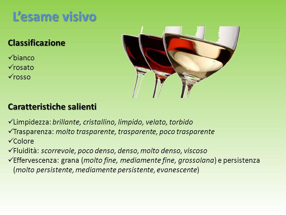 L'esame visivo – Il colore Il colore è dato dalle sostanze polifenoliche: vini rossi nei vini rossi gli antociani (presenti nella buccia dell'acino), i tannini ed i loro composti vini bianchi nei vini bianchi sostanze fenoliche INTENSITA': INTENSITA': cupo, carico, intenso - pallido, scarico VIVACITA' : VIVACITA' : vivo, netto, fresco, incerto, spento, sbiadito