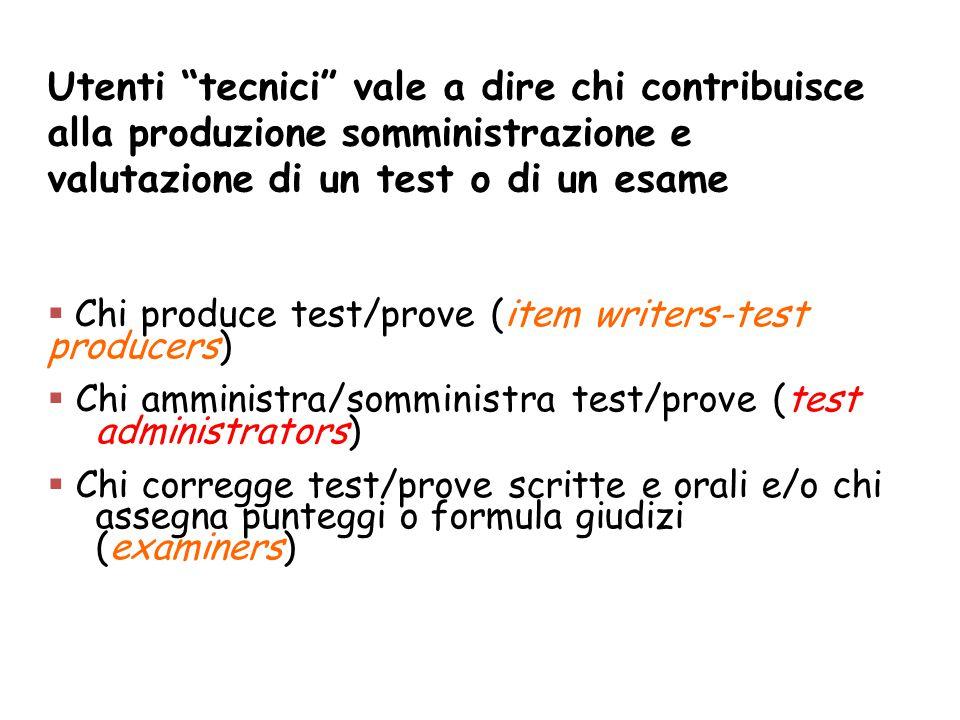 """Utenti """"tecnici"""" vale a dire chi contribuisce alla produzione somministrazione e valutazione di un test o di un esame  Chi produce test/prove (item w"""