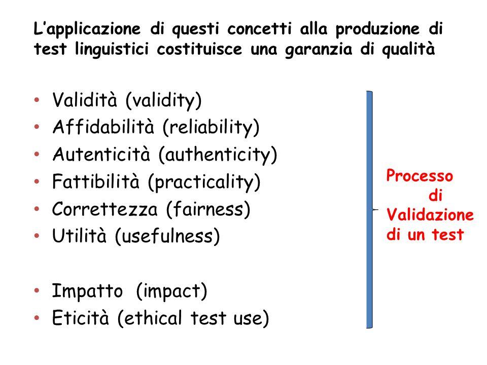 L'applicazione di questi concetti alla produzione di test linguistici costituisce una garanzia di qualità Validità (validity) Affidabilità (reliabilit