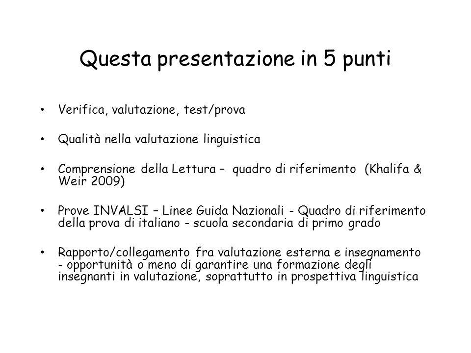Questa presentazione in 5 punti Verifica, valutazione, test/prova Qualità nella valutazione linguistica Comprensione della Lettura – quadro di riferim