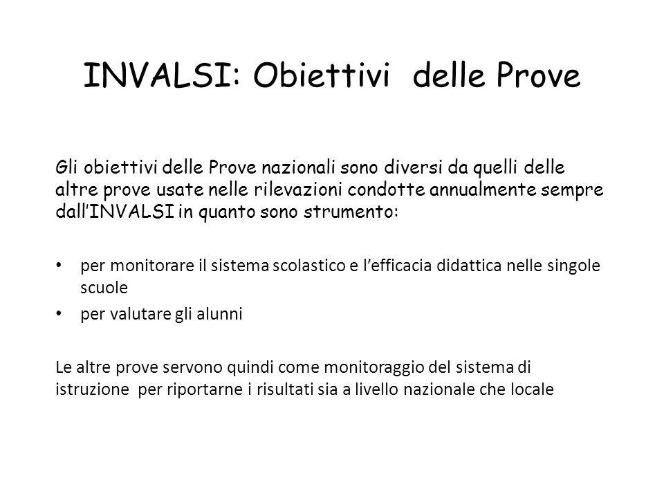 INVALSI: Obiettivi delle Prove Gli obiettivi delle Prove nazionali sono diversi da quelli delle altre prove usate nelle rilevazioni condotte annualmen