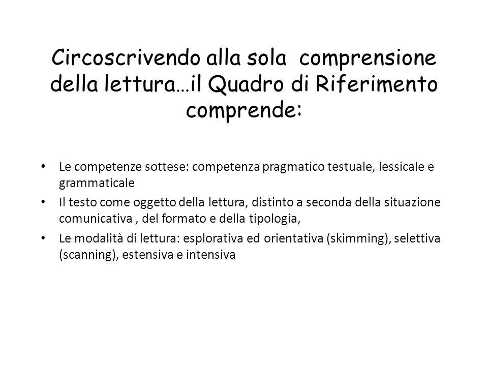Circoscrivendo alla sola comprensione della lettura…il Quadro di Riferimento comprende: Le competenze sottese: competenza pragmatico testuale, lessica