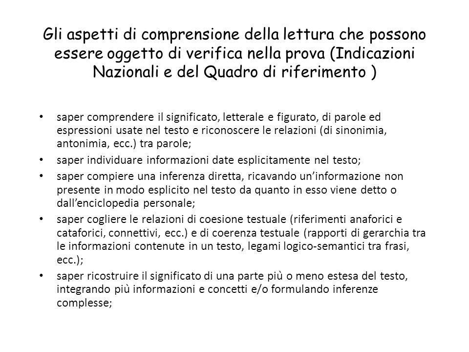 Gli aspetti di comprensione della lettura che possono essere oggetto di verifica nella prova (Indicazioni Nazionali e del Quadro di riferimento ) sape