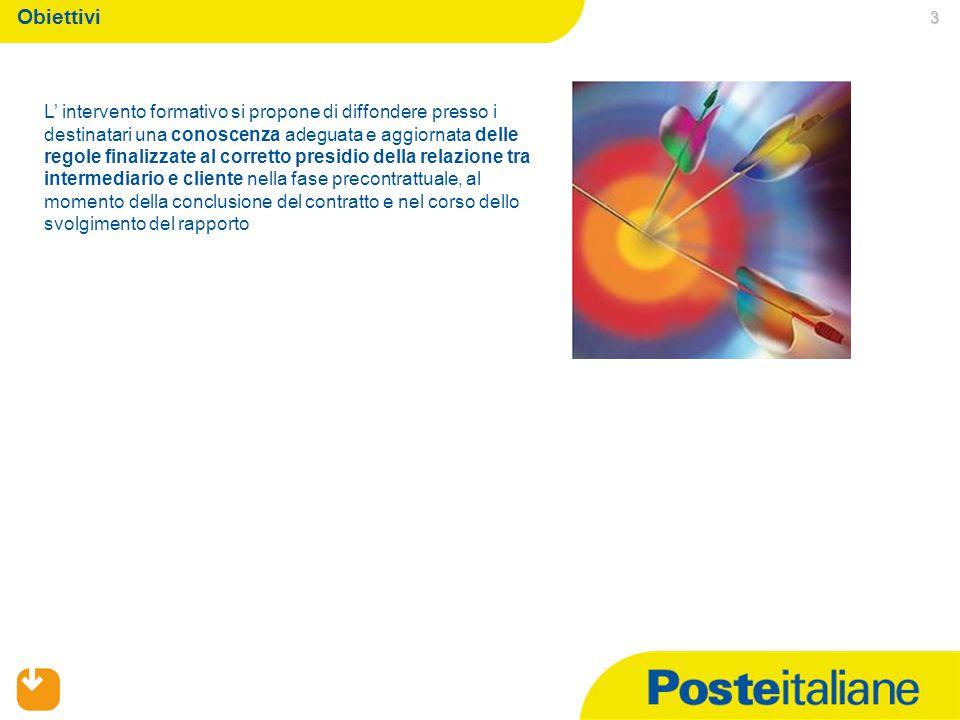 3 Obiettivi L' intervento formativo si propone di diffondere presso i destinatari una conoscenza adeguata e aggiornata delle regole finalizzate al corretto presidio della relazione tra intermediario e cliente nella fase precontrattuale, al momento della conclusione del contratto e nel corso dello svolgimento del rapporto