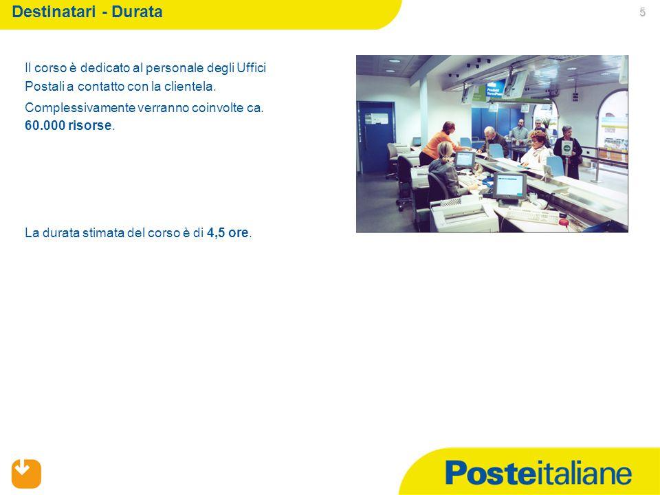 Destinatari - Durata 5 Il corso è dedicato al personale degli Uffici Postali a contatto con la clientela.