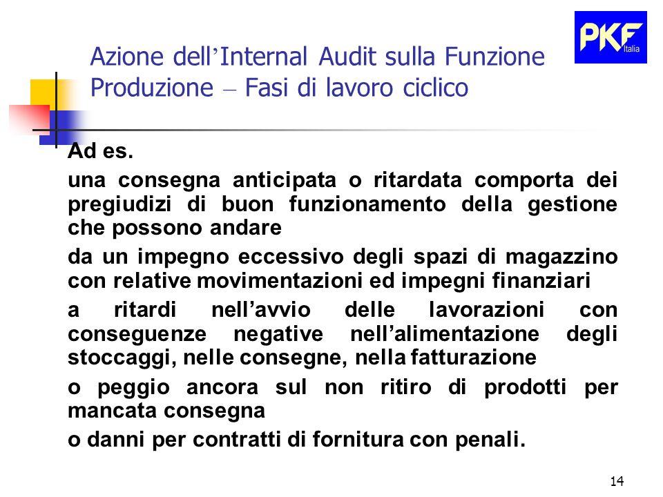 14 Azione dell ' Internal Audit sulla Funzione Produzione – Fasi di lavoro ciclico Ad es.