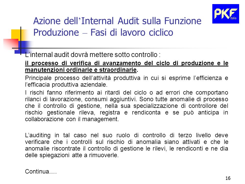 16 Azione dell ' Internal Audit sulla Funzione Produzione – Fasi di lavoro ciclico L'internal audit dovrà mettere sotto controllo : il processo di verifica di avanzamento del ciclo di produzione e le manutenzioni ordinarie e straordinarie.