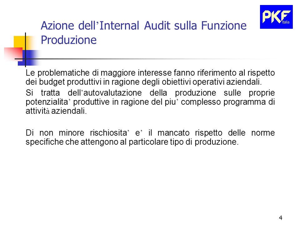 4 Azione dell ' Internal Audit sulla Funzione Produzione Le problematiche di maggiore interesse fanno riferimento al rispetto dei budget produttivi in ragione degli obiettivi operativi aziendali.