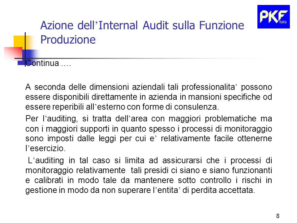 8 Azione dell ' Internal Audit sulla Funzione Produzione Continua ….