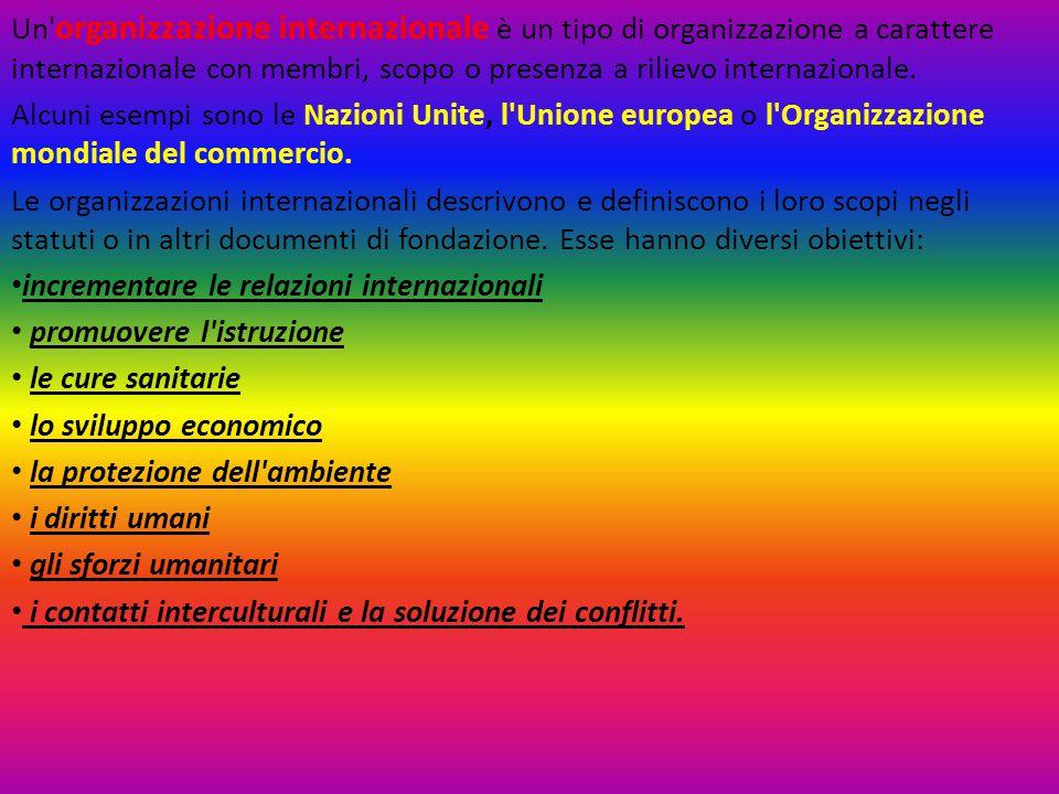 Un' organizzazione internazionale è un tipo di organizzazione a carattere internazionale con membri, scopo o presenza a rilievo internazionale. Alcuni