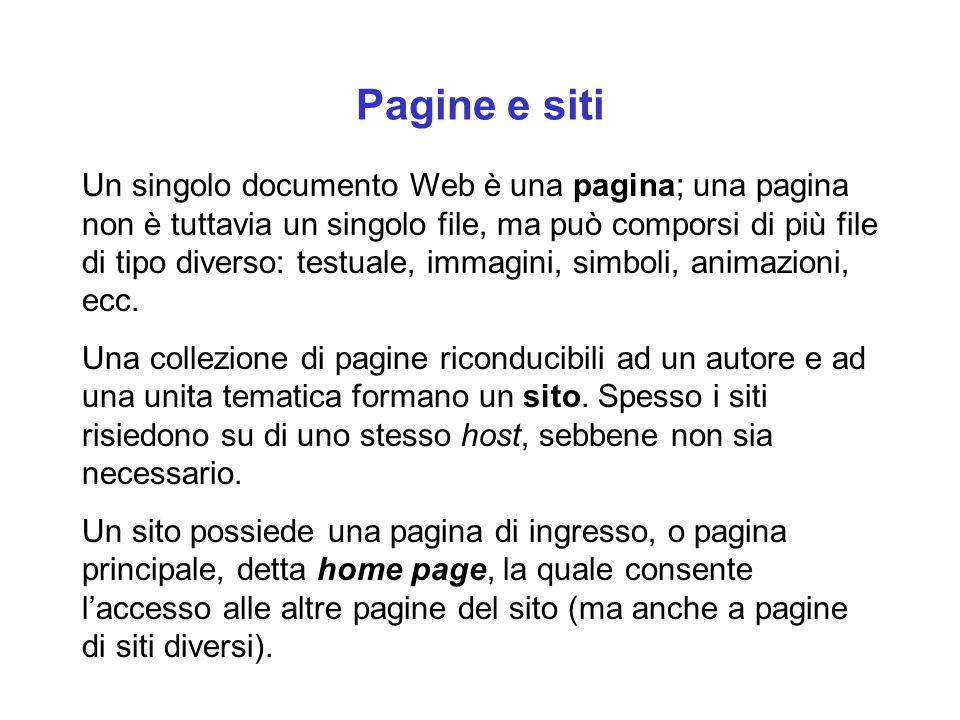 Pagine e siti Un singolo documento Web è una pagina; una pagina non è tuttavia un singolo file, ma può comporsi di più file di tipo diverso: testuale, immagini, simboli, animazioni, ecc.