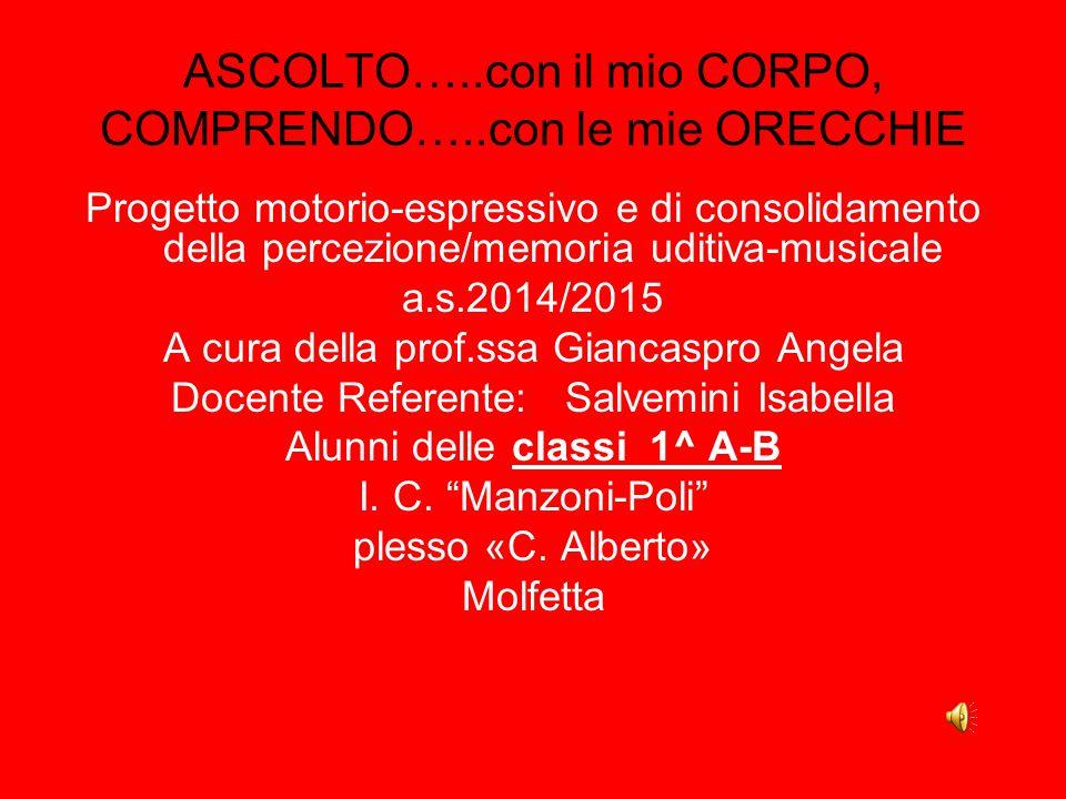 Progetto motorio-espressivo e di consolidamento della percezione/memoria uditiva-musicale a.s.2014/2015 A cura della prof.ssa Giancaspro Angela Docent