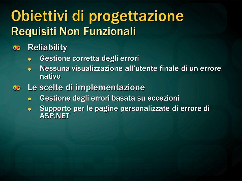 Reliability Gestione corretta degli errori Gestione corretta degli errori Nessuna visualizzazione all'utente finale di un errore nativo Nessuna visual