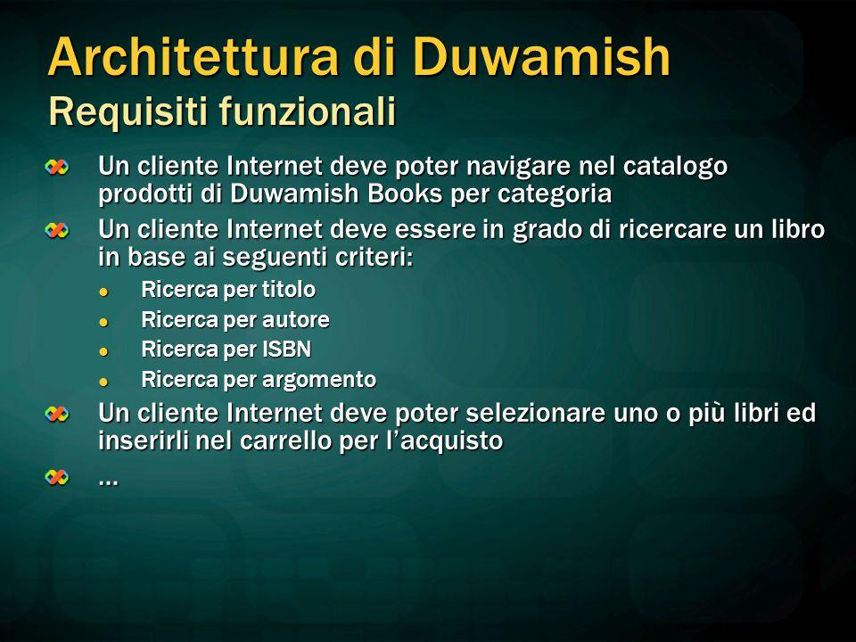 Un cliente Internet deve poter navigare nel catalogo prodotti di Duwamish Books per categoria Un cliente Internet deve essere in grado di ricercare un
