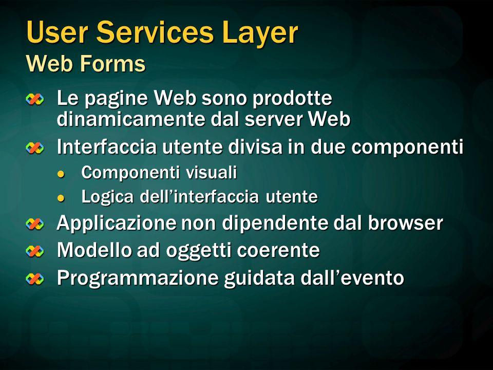 User Services Layer Web Forms Le pagine Web sono prodotte dinamicamente dal server Web Interfaccia utente divisa in due componenti Componenti visuali