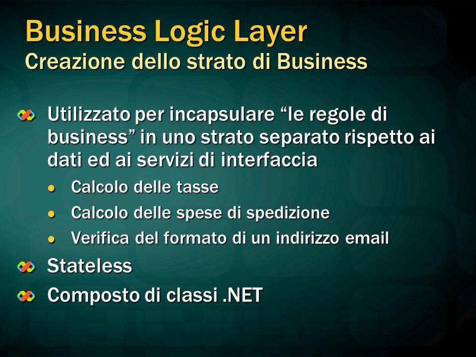 """Business Logic Layer Creazione dello strato di Business Utilizzato per incapsulare """"le regole di business"""" in uno strato separato rispetto ai dati ed"""