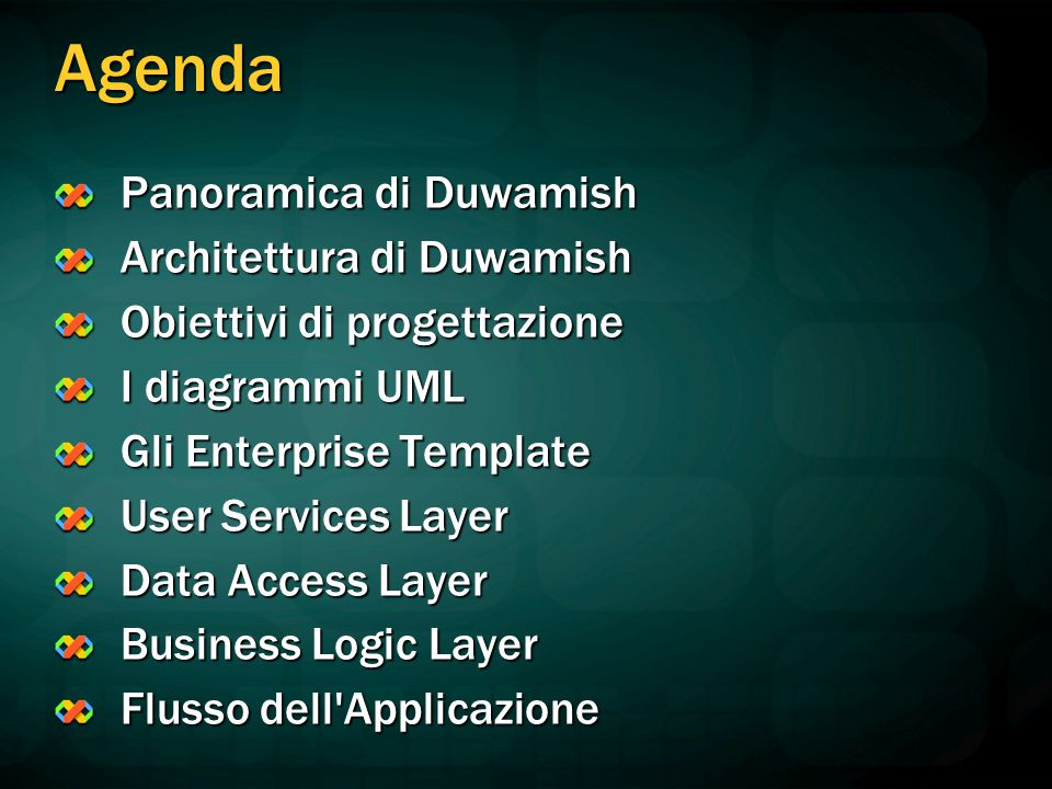 Agenda Panoramica di Duwamish Architettura di Duwamish Obiettivi di progettazione I diagrammi UML Gli Enterprise Template User Services Layer Data Access Layer Business Logic Layer Flusso dell Applicazione