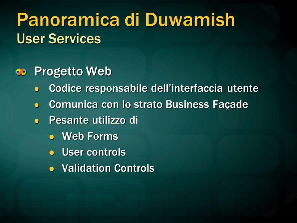 Progetto Web Codice responsabile dell'interfaccia utente Codice responsabile dell'interfaccia utente Comunica con lo strato Business Façade Comunica c