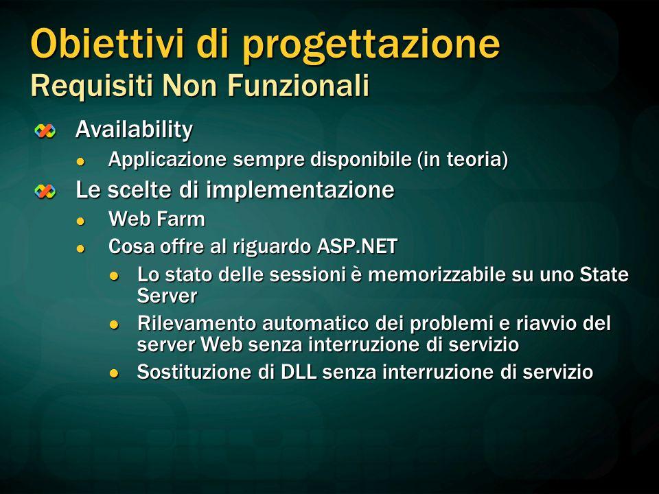 Obiettivi di progettazione Requisiti Non Funzionali Availability Applicazione sempre disponibile (in teoria) Applicazione sempre disponibile (in teori