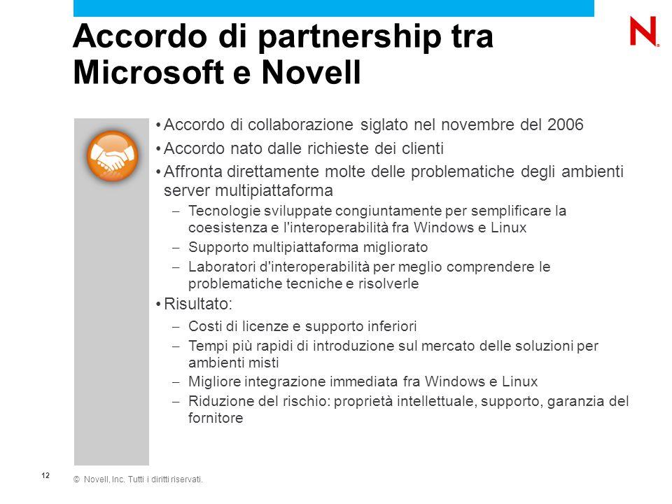 © Novell, Inc. Tutti i diritti riservati. 12 Accordo di collaborazione siglato nel novembre del 2006 Accordo nato dalle richieste dei clienti Affronta