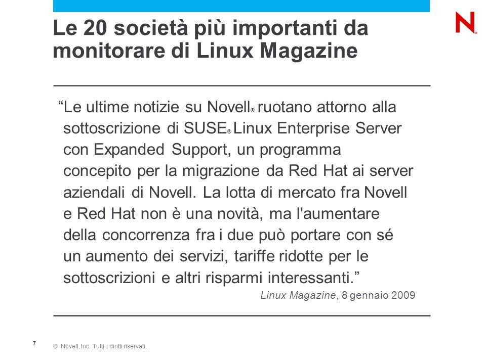 """© Novell, Inc. Tutti i diritti riservati. 7 """"Le ultime notizie su Novell ® ruotano attorno alla sottoscrizione di SUSE ® Linux Enterprise Server con E"""
