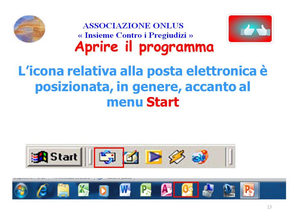 Aprire il programma L'icona relativa alla posta elettronica è posizionata, in genere, accanto al menu Start 13