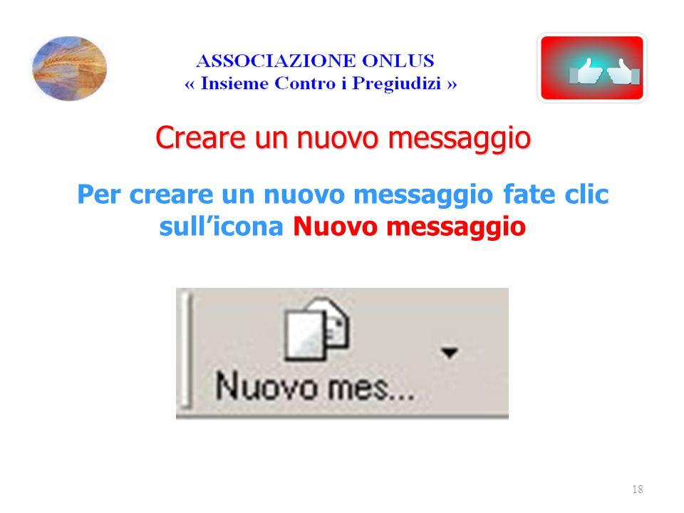Creare un nuovo messaggio Per creare un nuovo messaggio fate clic sull'icona Nuovo messaggio 18