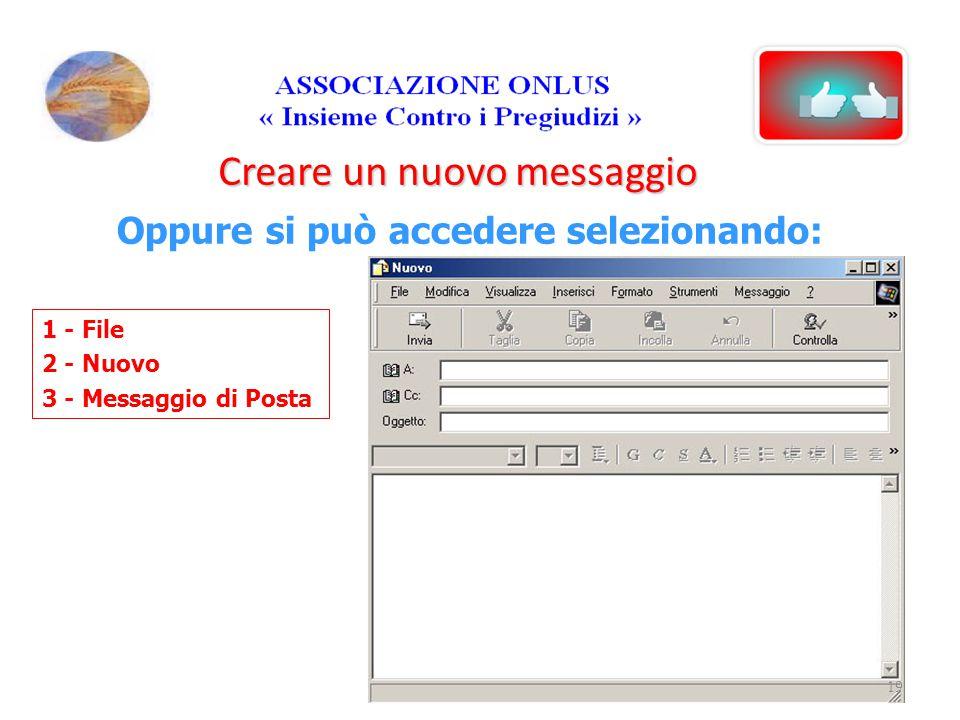 Creare un nuovo messaggio Oppure si può accedere selezionando: 1 - File 2 - Nuovo 3 - Messaggio di Posta 19
