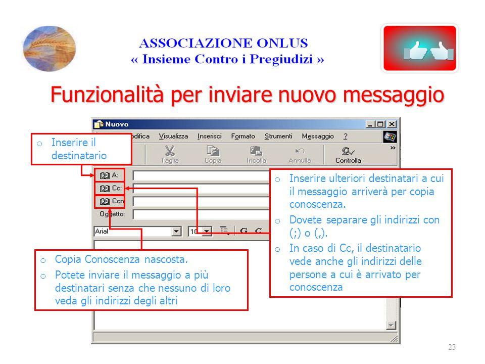 Funzionalità per inviare nuovo messaggio o Inserire il destinatario o Copia Conoscenza nascosta. o Potete inviare il messaggio a più destinatari senza