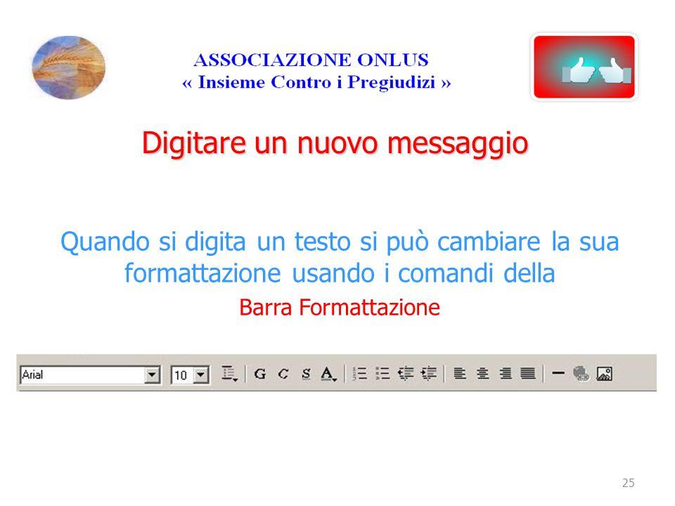 Digitare un nuovo messaggio Quando si digita un testo si può cambiare la sua formattazione usando i comandi della Barra Formattazione 25