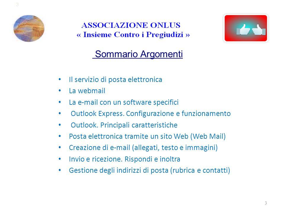 3 Sommario Argomenti Il servizio di posta elettronica La webmail La e-mail con un software specifici Outlook Express. Configurazione e funzionamento O