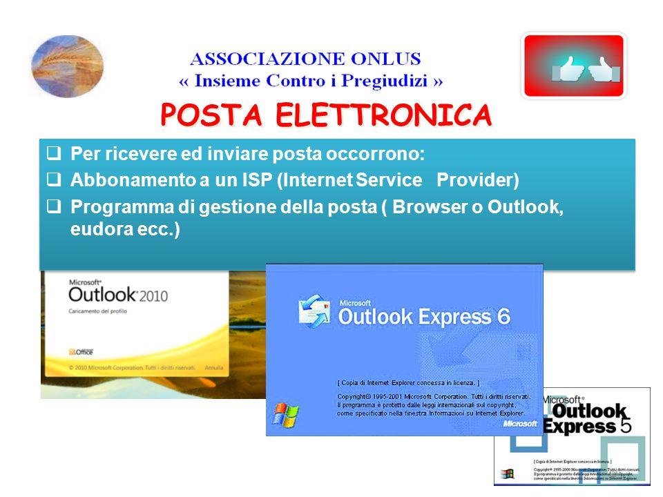 POSTA ELETTRONICA  Per ricevere ed inviare posta occorrono:  Abbonamento a un ISP (Internet Service Provider)  Programma di gestione della posta (