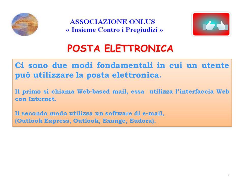 POSTA ELETTRONICA WEB-mail Web-based mail, utilizza l'interfaccia Web con Internet, cioè il Browser per accedere alla posta, senza installare nessun software di e-mail.
