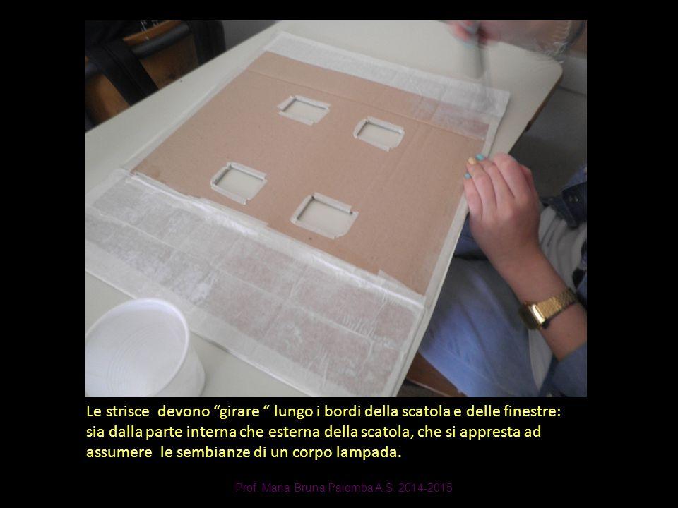 """Prof. Maria Bruna Palomba A.S. 2014-2015 Le strisce devono """"girare """" lungo i bordi della scatola e delle finestre: sia dalla parte interna che esterna"""