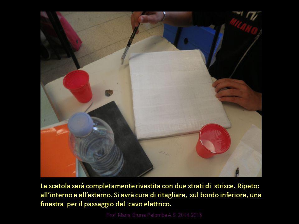 Prof. Maria Bruna Palomba A.S. 2014-2015 La scatola sarà completamente rivestita con due strati di strisce. Ripeto: all'interno e all'esterno. Si avrà
