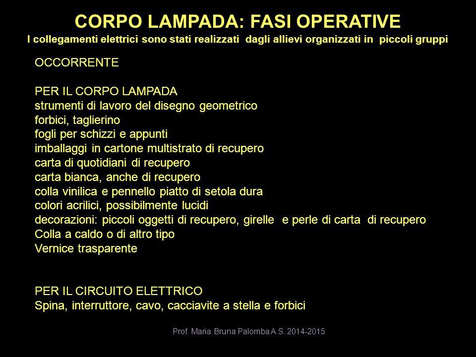CORPO LAMPADA: FASI OPERATIVE I collegamenti elettrici sono stati realizzati dagli allievi organizzati in piccoli gruppi Prof. Maria Bruna Palomba A.S
