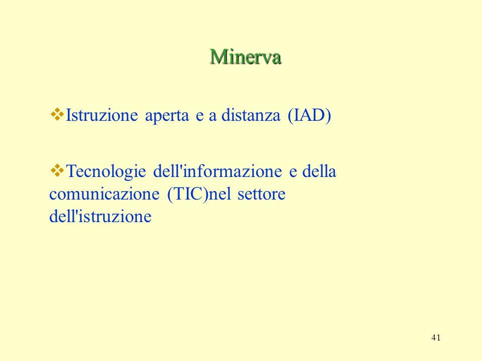 41 Minerva  Istruzione aperta e a distanza (IAD)  Tecnologie dell informazione e della comunicazione (TIC)nel settore dell istruzione