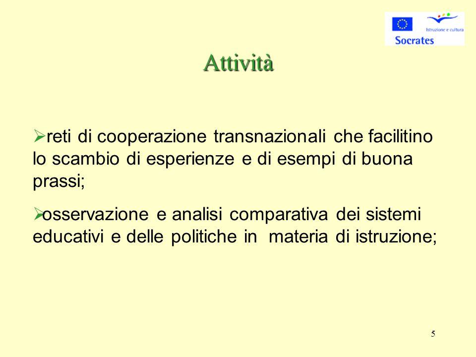 5   reti di cooperazione transnazionali che facilitino lo scambio di esperienze e di esempi di buona prassi;  osservazione e analisi comparativa dei sistemi educativi e delle politiche in materia di istruzione; Attività