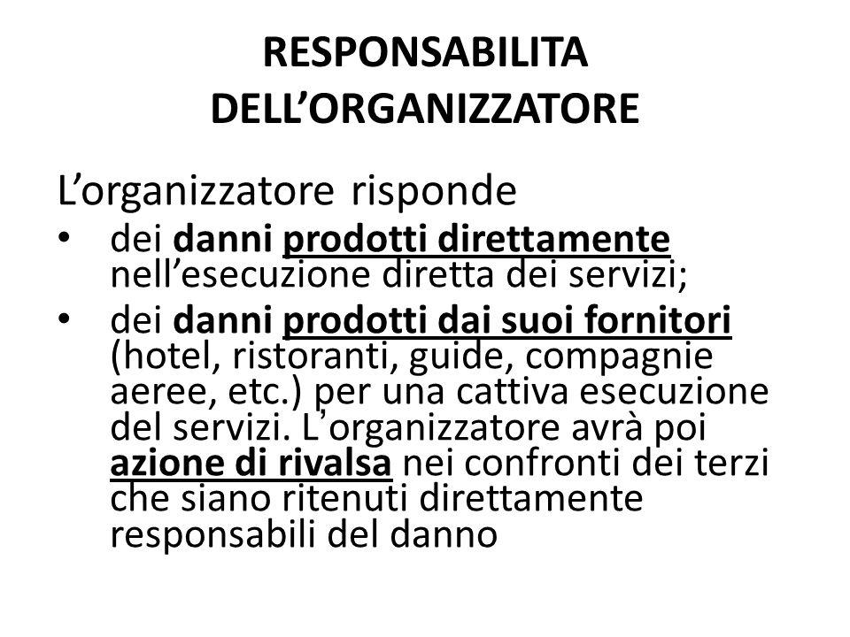 RESPONSABILITA DELL'ORGANIZZATORE L'organizzatore risponde dei danni prodotti direttamente nell'esecuzione diretta dei servizi; dei danni prodotti dai