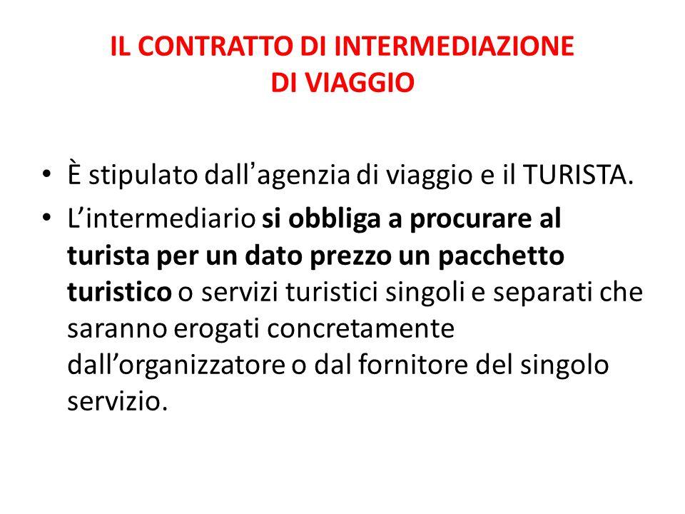 IL CONTRATTO DI INTERMEDIAZIONE DI VIAGGIO È stipulato dall ' agenzia di viaggio e il TURISTA.