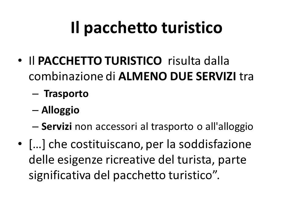 Il pacchetto turistico Il PACCHETTO TURISTICO risulta dalla combinazione di ALMENO DUE SERVIZI tra – Trasporto – Alloggio – Servizi non accessori al t