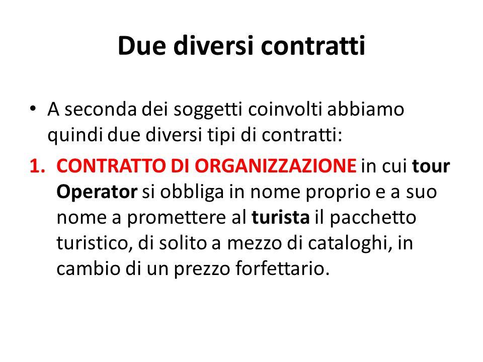 Due diversi contratti A seconda dei soggetti coinvolti abbiamo quindi due diversi tipi di contratti: 1.CONTRATTO DI ORGANIZZAZIONE in cui tour Operato