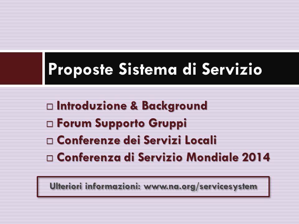  Introduzione & Background  Forum Supporto Gruppi  Conferenze dei Servizi Locali  Conferenza di Servizio Mondiale 2014 Proposte Sistema di Servizio Ulteriori informazioni: www.na.org/servicesystem