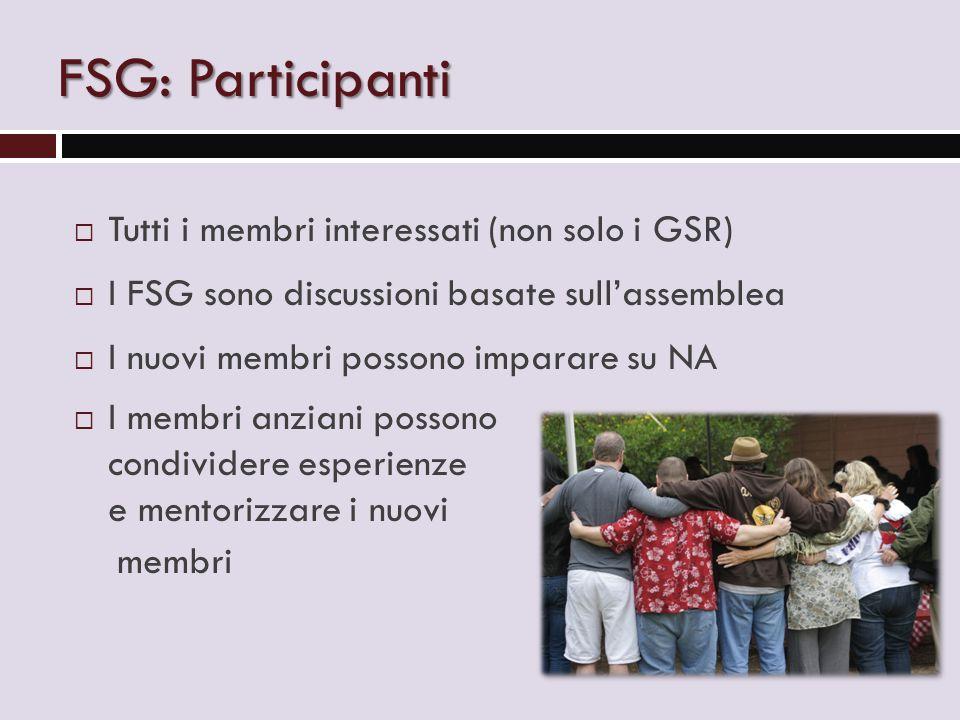 FSG: Participanti  Tutti i membri interessati (non solo i GSR)  I FSG sono discussioni basate sull'assemblea  I nuovi membri possono imparare su NA  I membri anziani possono condividere esperienze e mentorizzare i nuovi membri