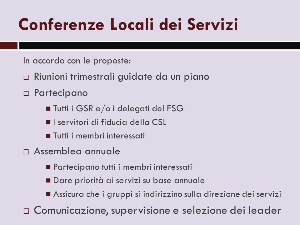 Conferenze Locali dei Servizi In accordo con le proposte:  Riunioni trimestrali guidate da un piano  Partecipano Tutti i GSR e/o i delegati del FSG
