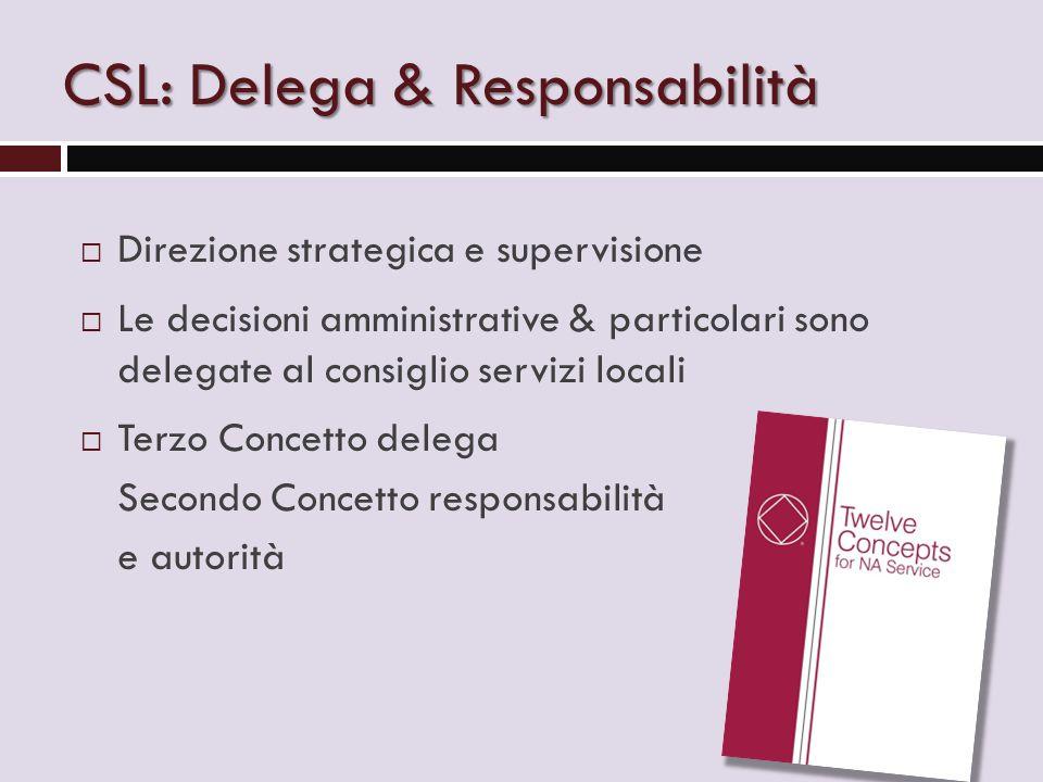 CSL: Delega & Responsabilità  Direzione strategica e supervisione  Le decisioni amministrative & particolari sono delegate al consiglio servizi locali  Terzo Concetto delega Secondo Concetto responsabilità e autorità
