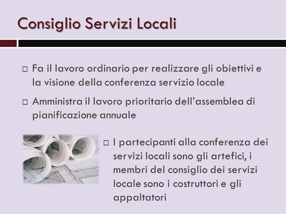 Consiglio Servizi Locali  Fa il lavoro ordinario per realizzare gli obiettivi e la visione della conferenza servizio locale  Amministra il lavoro pr