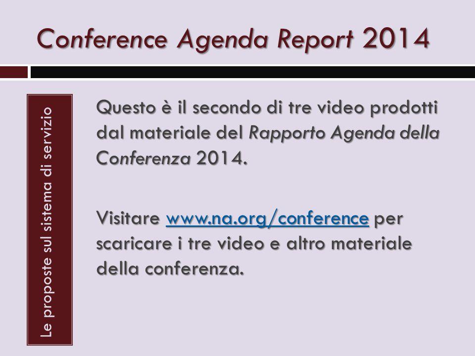 Conference Agenda Report 2014 Le proposte sul sistema di servizio Questo è il secondo di tre video prodotti dal materiale del Rapporto Agenda della Conferenza 2014.