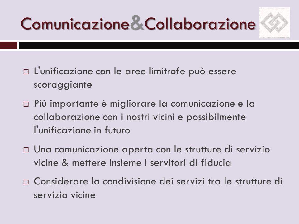 Comunicazione & Collaborazione  L'unificazione con le aree limitrofe può essere scoraggiante  Più importante è migliorare la comunicazione e la coll