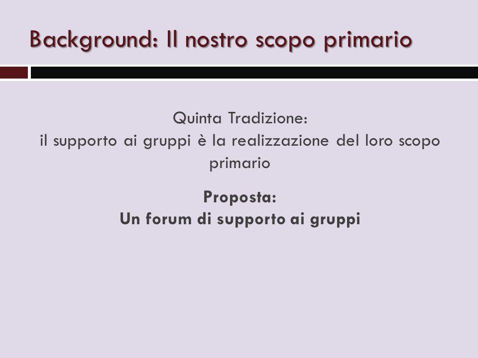 Background: Il nostro scopo primario Quinta Tradizione: il supporto ai gruppi è la realizzazione del loro scopo primario Proposta: Un forum di supporto ai gruppi